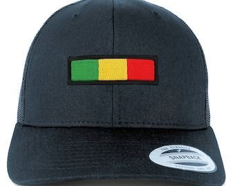 Rasta Green Yellow Red Embroidered Iron on Patch Mesh Back Trucker Cap (6606-AFRICA-29)