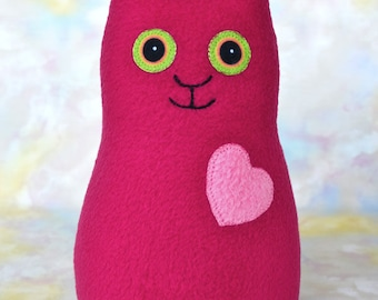 Handmade Kitty Cat, Stuffed Animal Plush Kids Baby Doll Art Toy, Hug Me Kitten, Personalized Hang Tag, Rose Red, Pink Fleece, 9 inch