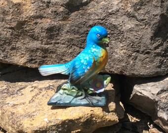 Vintage Bluebird Figurine, Bisque, Bird Figurine, Cottage, Farmhouse, French Country, Collectible