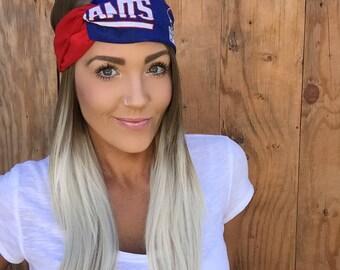 New York Giants Vintage Style Turban Headband    Hair Band Football Accessory Cotton Workout Yoga Fashion Red White Blue Head Scarf Girl
