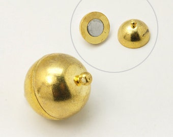 5 Sets Gold Tone Round Magnetic Clasps 8mm (B143g)