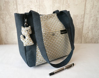 Blue and grey shoulder bag,  blue handbag, French handbag