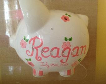 Personalized Pink flowers Piggy  Bank with crystals - Newborns , Birthday,Girls,Flower Girl,Baby Shower Gift Centerpiece
