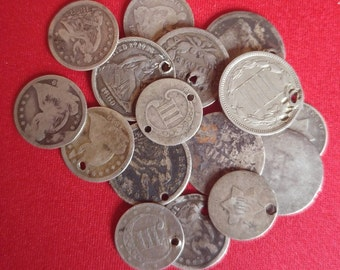 Old Early US Silver CULL Coins Seated Liberty Dimes / 90% Silver / 1 COIN / Antique Money