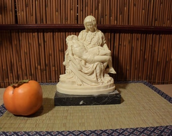 Vintage Pieta Alabaster Statue On Marble Base Made in Italy 7 Inches Tall