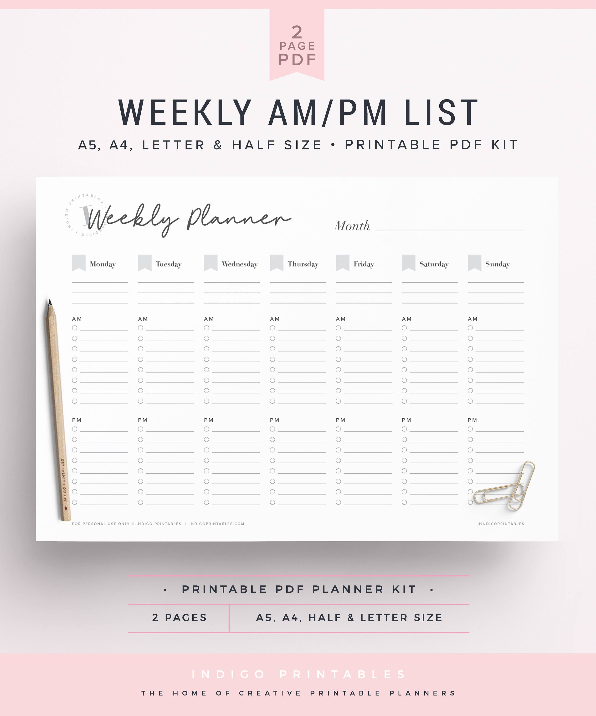 Weekly AM PM List Undated Planner Planner Insert A5 A5
