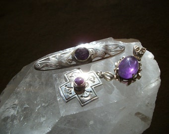 SALE Vintage Sterling Silver AMETHYST PENDANTS or Brooch