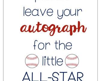 Baseball Baby Shower Signs/Tags