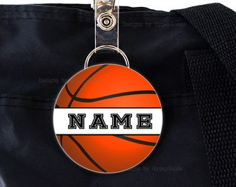 "2.25"" Bag Tag Personalized Sports Themed designs Mylar covered printed image Basketball, Baseball, Golf, Soccer"