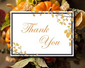 "Autumn Wedding Thank You Card Template Printable - Fall Invitation Insert Card ""Muskoka""  Amber Wedding Ceremony Thank You Card"