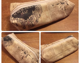 Marauders Map, Harry Potter (Hogwarts) themed pencil case or make up bag - handmade fandom fabric