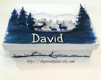 navy blue,grey,woodland keepsake box,boy box,boy keepsake box,kids box,boys memory box,deer keepsake box,new baby gift,personalized gift