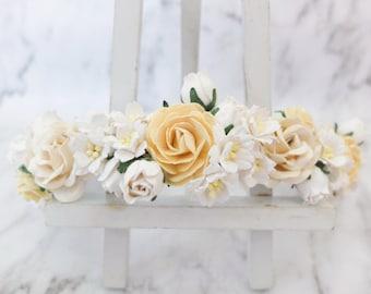 White and light yellow wedding flower crown - flower girl hair accessories - head wreath - headpiece - garland -woodland