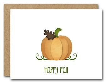 PRINTABLE Fall Card, Autumn Card, Pumpkin Card, Autumn Greeting, Fall Greeting, Pumpkin Note Card, Fall Note Card, INSTANT DOWNLOAD