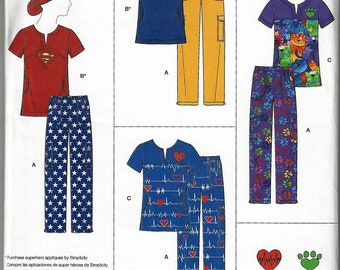 Simplicity Pattern #8266 Misses' Easy to Sew Scrubs with Ponytail Hat~Misses Xxsm-m or M-Xxl~New OOP