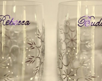 Winter Wedding Personalized Snowflakes Toasting Flutes Champagne Prosecco Glasses Bride Groom Mr Mrs Purple Silver White Ice Flutterby Glass