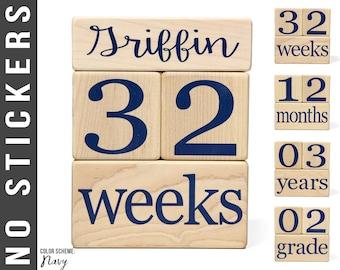 NAVY - Baby Age Blocks - Baby Milestone Blocks - Solid Hard White Maple - Months, Years, Weeks, Grade