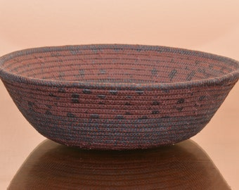 Fabric Rope Coiled Basket: Fabric Pottery Grey Dark Coral - Round