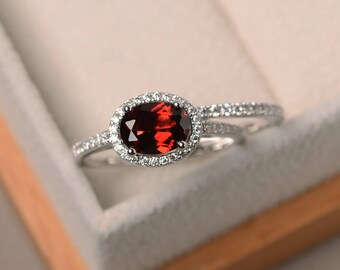 Promise ring, natural red garnet ring, January birthstone ring, oval cut gemstone, sterling silver ring