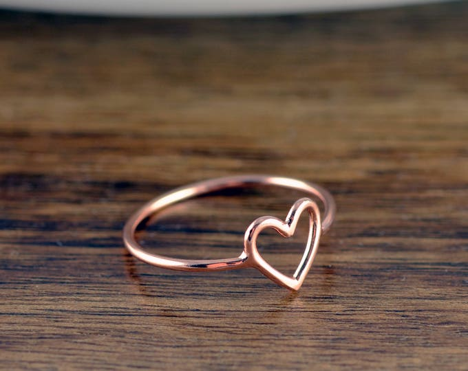 Rose Gold Heart Ring, Heart Ring, Rose Gold Jewelry, Stacking Rings, Birthday Gifts for Her, Gift for Women, Bridesmaid Gift