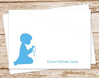 personalized stationery . first holy communion . boys thank you cards . note cards notecards . stationary . set of 8