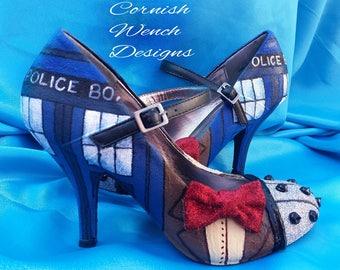 Custom made Dr. Who Inspired Heels, 'THE DR' Tardis, Dalek