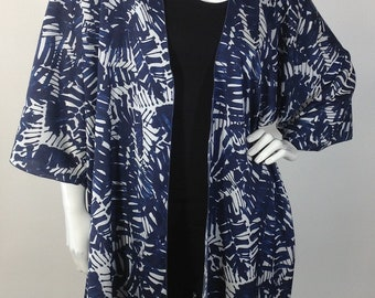 Navy blue and white print Cardigan O/S