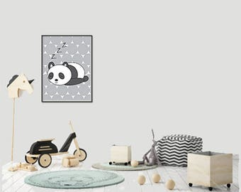 Baby Nursery Art, Boys and Girls, Sleeping Panda, Baby Sleeping Animal Art (Gray), Unframed, Perfect for Baby Shower Gifts!