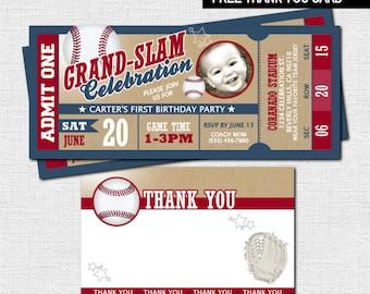 VINTAGE BASEBALL TICKET Invitations + Bonus Thank You Card - (print your own) Printable File - Birthday Party