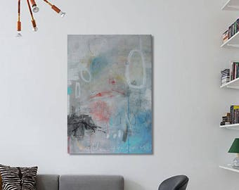 Abstract  original art painting 19,5 in x 27,5 in Acrylic + mixed media