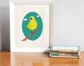 SALE Yellow Bird Print, Bearded Tit