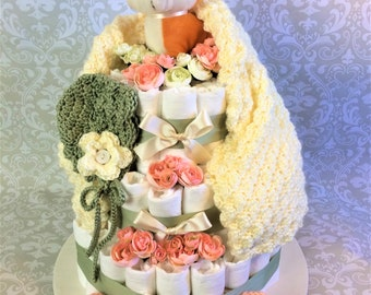 Baby Girl 3 tier Sage Green and Peach colored crochet Diaper cake - an adorable diaper baby shower gift - made to order