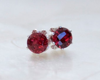 Vintage Style Buttercup Stud Earrings Almandine Garnet & Sterling Silver - Post Earrings - Eco Friendly - Ethical - Ready to Ship