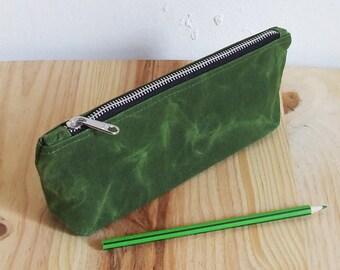 Waxed Canvas Pencil Case, Pencil Pouch, Zipper
