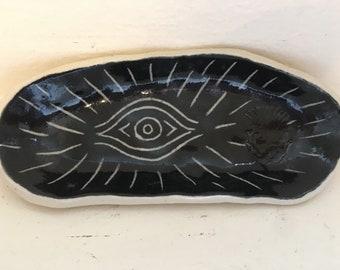 Eye Smudge Stick Holder - Black | Handmade Ceramics made in Seattle WA, Burnt Thistle Ceramics