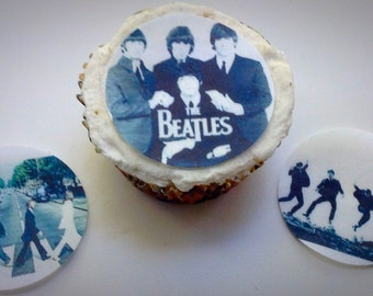 12 The Beatles edible paper, cupcake cookie topper Decorations PRE CUT