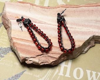 beaded earrings, dangle earrings, ruby red earrings, red and black earrings, wire wrap earrings, gift for her, crystal earrings