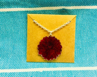 Red Dahlia Flower Necklace