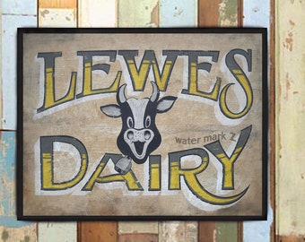 Lewes Delaware Dairy Print from an original hand painted and lettered sign. Farmhouse decor, Dairy Decor, Kitchen Art