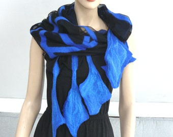 Nuno Felted Scarf merino wool silk Nuno felting shawl Black and blue