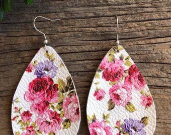 White Floral Vegan Leather Earrings