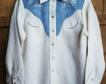 Vintage 70's H Bar C Cream & Smoky Blue Western Pearl Snap Shirt with Applique