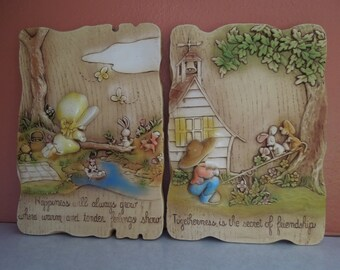 Holly Hobbie 3D Wall Plaques Set of Two Vintage 1977