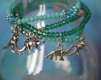 Biolojewelry - Green Dinosaur Charm Bracelet Set