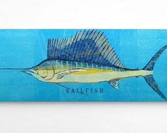 Fathers Day Gifts for Dad, Gifts for Husband Gift, Fish Gifts for Him, Sailfish Art Block, Sailfish Print, Beach House Art