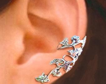 Art Nouveau Stream flower ear cuffs Sterling Silver earrings Art Nouveau earring Sterling silver ear cuff vine ear clip ear cuff 064139 CC