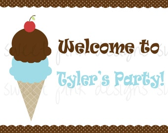 PRINTABLE WELCOME SIGN- Ice Cream Shoppe Collection for Boys