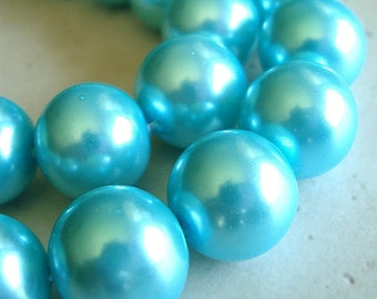 Glass Beads 14mm Shiny Opaque Aqua Blue Pearl Smooth Rounds - 6 Pieces