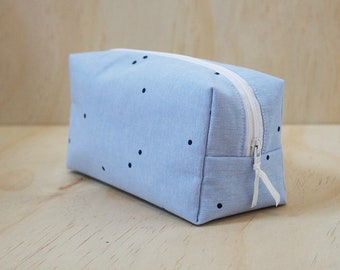 Blue Polka Dots case, toiletry bag, cosmetic bag, pouch