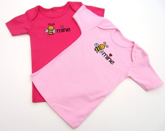 BE MINE Valentine T-Shirt - Baby Short Sleeve Tee-Hot Pink Valentine Tee-Baby Tee with Red Heart-Embroidered bee mine-Size 12 months
